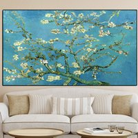 Wholesale large tree life painting for sale - Group buy Vincent Van Gogh blue Blossoming Almond Tree large Oil Painting on Canvas Poster Print Cuadros Wall Art Pictures For Living Room