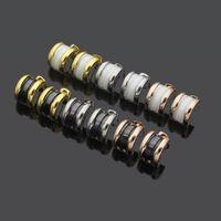Wholesale black spiral earrings for sale - Group buy Europe America Style Lady Women Titanium Steel B Initials C shape Black White Ceramic Spiral Stud Earrings Color
