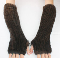 Wholesale arm warmers mittens for sale - Group buy LIYAFUR Women s Real Genuine Knitted Winter Fingerless Long Gloves Elastic Net Mittens Arm Warmer Black Coffee
