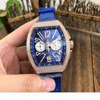Wholesale big number watch leather resale online - Best Edition New V45 Blue Big Number Date Dial Rose Gold L Diamond Steel Case Automatic Mechanical Mens Watch Leather Strap Sport Watche