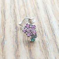 Wholesale pretty single resale online - Authentic Sterling Silver Beads My Pretty Flower Single Stud Earring Charms Fits European Pandora Style Jewelry Bracelets Necklace