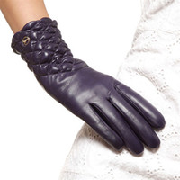 Wholesale men s brown leather gloves resale online - High Quality Brand Genuine Leather Gloves Soft Women Sheepskin Glove Fashion Trend Winter Driving Leather Gloves EL005NC
