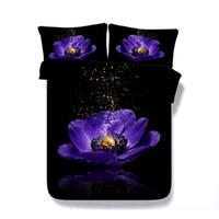 Wholesale purple 3d bedding set resale online - 3D galaxy floral flower print Duvet Cover with pillowcase Bedding Set Microfiber Comforter Cover Zipper Closure NO Quilt Purple