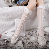 Wholesale girls love socks for sale - Group buy INS New Girls Lolita Lace Socks Kids Love Heart Hollow Socks Cosplay Children Handmade Bows Lace Ruffle Princess Dress Sock A4326
