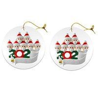 Wholesale solid wooden toys resale online - 2020 Christmas Ornament Wooden Xmas Tree Pendant with PVC Snowman Face Mask Handing Toys Family Of Ornament with mask GGA3734