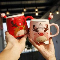 Wholesale lovely couples resale online - Christmas Gift Cartoon Cute Cups Fawn Printed Lid Spoon Creative Lovely Couples Porcelain Cups Office Cute Fashion Coffee Cups Mugs VT1707