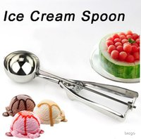 Wholesale mashed potatoes resale online - 4 cm Stainless Steel Ice Cream Spoon Kitchen Mashed Potatoes Watermelon Jelly Yogurt Cookies Spring Handle Scoop Kitchen Tool DBC BH4072