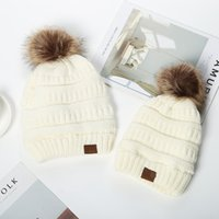 Wholesale kids pom hats for sale - Group buy Kids Adults Pom Poms Beanies Knitted Hat Thick Warm Winter Hat Stretch Cable Knit Wool Hats Skullies Beanie Girl Caps style GGA3727