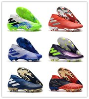 Wholesale youth high top soccer shoes resale online - Nemeziz FG soccer shoes sneakers football cleats high top boots youth kids men women trainers cleat boot sneaker trainer laceless grasses