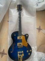 Wholesale blue hollow body electric guitar resale online - customized new blue explosive jazz electric guitar semi hollow body