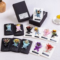 Wholesale greeting box resale online - Handmade Dried Flower Greeting Card Valentine s Day Creative Thanksgiving Gift Box Card Mini Bouquet Dried Flowers Gift Cards