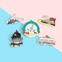 Wholesale lapel pin badges resale online - Camping Life Enamel Pin Outdoor Compass Canvas Shoe Bonfire Tent Motorhome Brooches Bag Lapel Pin Badge Jewelry Gift for Friends zdl0911