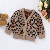 Wholesale boys red cardigan sweaters for sale - Group buy Fall Winter Kids Baby Sweaters Leopard Embroidery Knittes Coat Infant Baby Girl Boy V Neck Buttons Sweaters Cardigans Outerwear