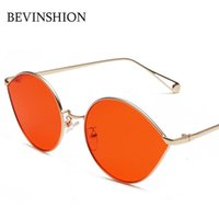 Wholesale rose sunglasses men resale online - Vintage Brand Designer Water Droplets Shape Oval Sunglasses Women Glasses Men Couple Eyeglasses Metal Frame Red Blue Rose Gold