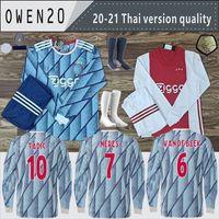 Wholesale full sleeve football jersey set resale online - 20 Ajax Home Long Sleeve Away soccer jersey PROMES ALVAREZ Ajax camiseta de fútbo VAN DE BEEK TADIC ZIYECH FOOTBALL SHIRT SETS