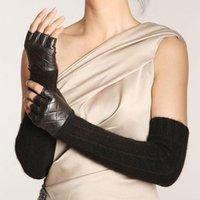 Wholesale women s leather opera gloves resale online - Promotion Women Sheepskin Long Fingerless Gloves Punk Fashion Genuine Leather Opera Solid Lady Mitten Winter Wool Glove L111NQ