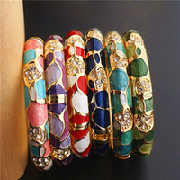 Wholesale cloisonne bangles for sale - Group buy Colorful Chinese Craft Ethnic Bangle Cloisonne Enamel Jewelry High Quality Rhinestones Women Bangles Birthday Gift