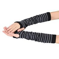 Wholesale fingerless cotton gloves women for sale - Group buy SAGACENew Women Warmer Winter Gloves Wrist Arm Hand Knitted Mitten long section cotton Long Fingerless gloves stripe sale A30924