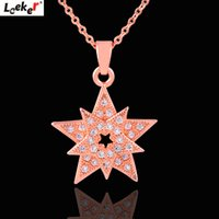 gelbgold stern halskette groihandel-LEEKER Shining Star Snowflake Pendant Necklace Yellow Rose Gold Color Chain Choker Crystal Necklace For Women Jewelry 003 LK8