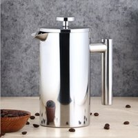 Wholesale stainless steel french press resale online - Coffee Pots French Press Coffee Maker Double Walled Stainless Steel Cafetiere Tea Maker Squeeze Coffe Pot with strainer Filter LSK1129