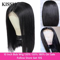 Wholesale women's short wigs for sale - Group buy 10 Inch Bob Wig HD Lace Wig Peruvian Hair Straight Short Bob Human Women s Wigs HD Transparent Lace With
