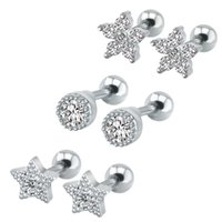 Wholesale tragus stud jewelry resale online - Trendy Star Ear Studs Round Gem Crystal Cartilage Tragus Earring L Stainless Steel Stud Earrings Jewelry Aretes De Mujer