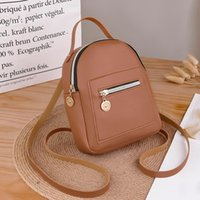 Wholesale pu backpack purses preppy for sale - Group buy Small Solid Color Zipper Shoulders Backpack For Women Mochila Letter Purse Mobile Phone Bag Bolso Mujer sac a main femme