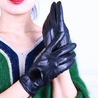 Wholesale leather working gloves for sale - Group buy 2020 female winter thick warm leather gloves plus velvet sheepskin outdoor hair ball work gloves outdoor bike discount