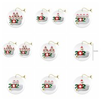 Wholesale solid wooden toys for sale - Group buy 2020 Christmas Ornament Wooden Xmas Tree Pendant with PVC Snowman Face Mask Handing Toys Family Of Ornament with mask GGA3734