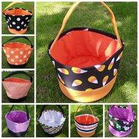 Wholesale designer kid handbag resale online - Halloween Gift Bucket Printing Wrap Child Candy Collection Bag Trick or Treat Handbag Kid Festival Handle Storage Tote Basket LJJP473