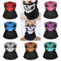 Wholesale biker halloween mask resale online - Halloween Full Face Mask Halloween Skull Print Motorcycle Hood Cap Face Mask Biker Windproof Neck Biden Mask Headwear