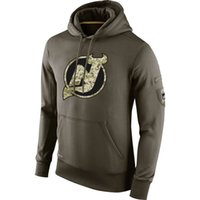 Wholesale salute service ice jerseys for sale - Group buy New Jersey Devils Men Sweatshirt Olive Salute To Service KO Performance ice hockey Hoodie