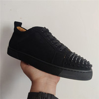 2021 Red Bottom Low Cut Spikes Flats Casual Shoes Black Blue Suede Silver Diamond Top Quality Men Women Sneakers With Box Dust Bag