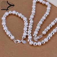 Wholesale jewery necklace for sale - Group buy Hot Sale Silver Plated Jewery Set Fashion Bridal Accessories MM Light Sand Ball Bead Necklace Bracelet Two pieces
