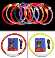 Wholesale led dog collar charge resale online - USB Charge Pets Dog Collar LED Outdoor Luminous Safety Pet Dog Collars Light Adjustable LED Flashing Puppy Collar Pet Supplies cm