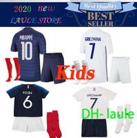 Wholesale maillot foot short for sale - Group buy 2020 France Kids soccer jersey MBAPPE GRIEZMANN KANTE POGBA Maillot de foot EURO Kids kits set football shirts Uniform Young