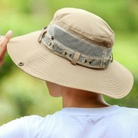 Wholesale caps printed shades resale online - Hat Man Summer Fisherman Mountaineering Breathable Sun Shade Hats Outdoor Fishing Male Sunscreen Cool Fashion Visor Caps J95D
