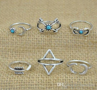Wholesale arrow style resale online - Rings Sets Bohemian Style Pck Rings Arrows Moon Lucky Rings Set for Women Party Silver RING