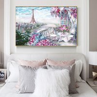 Wholesale art oil painting paris resale online - Abstract Flower Oil Painting Wall Art Canvas Prints and Poster Hand Painted Paris Tower Landscape Picture for Bedroom Home Decor