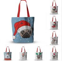 Wholesale cute eco bags for sale - Group buy Christmas Gift Bags Cute Pug Printing Foldable Shopping Bags Lightweight Handbag Outdoor Storage Xams Canva Bag DDA539