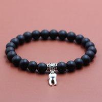 Wholesale tooth bracelets resale online - 8MM MaGlass Stone Bead Bracelet Tooth Charms Women Men Strand Diy Handmade Beads Charm Bracelets Fashion Jewelry Gift