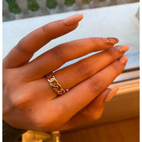Wholesale antique wedding bands men resale online - Chic Punk Gold Color Chain Shape Band Rings Vintage Gothic Chunky Finger Open Ring for Women Men Antique Jewelry Accessories Christmas Gift