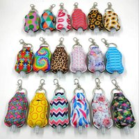 Wholesale gift bag hooks resale online - Neoprene Keychain ml Hand Sanitizer Soap Bottle Covers with Hook Chapstick Keychain Bags Fashion Accessories Gift Styles EWC2125