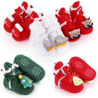 Wholesale santa boots for sale - Group buy Winter Warm Santa Claus Baby Shoes New Christmas Baby Boys Girls First Walkers Cute Boots Xmas Soft Sole Booties gift