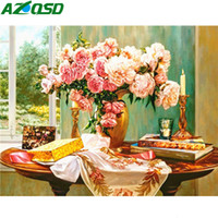 Wholesale flower art handmade paintings for sale - Group buy wall art Oil Painting By Numbers DIY Flower Unframe Handmade Gift Acrylic Paint Pictures By Numbers Vase Wall Art Full Kits
