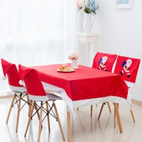 Wholesale covers for chairs resale online - Christmas Chair Cover Santa Clause Red Hat Chair Back Covers Dinner Chair Cap Sets For Christmas Xmas Home Party Decorations GWE1793