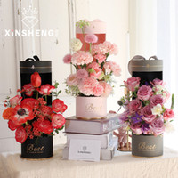 Wholesale gift basket boxes resale online - 2pcs Creative Portable Kaleidoscope Portable Flower Box Flower Box Hollow Gift Package with Window Type Holes round Basket