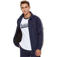Wholesale lines fitness for sale - Group buy Tracksuits Fashion Spring Long Sleeve Sports Two piece Suit Designer Male Cardigan Zipper Casual Comfortable Fitness Suit Man Contrast Lines