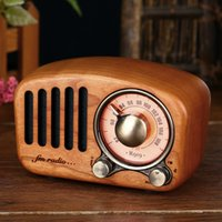 Wholesale bass wooden for sale - Group buy Vintage Radio Retro Bluetooth Speaker Cherry Wooden FM Radio with Old Fashioned Classic Style Strong Bass AUX USB Rechargeabl
