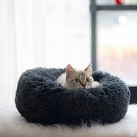 Wholesale best white bedding resale online - Round cat bed House Soft Long Plush Best Pet dog bed For Dogs Basket pet products cat Mat house accessories